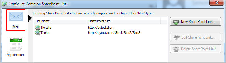 Chosen SharePoint lists for email item type