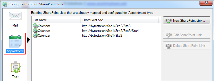 Chosen SharePoint lists for appointment type