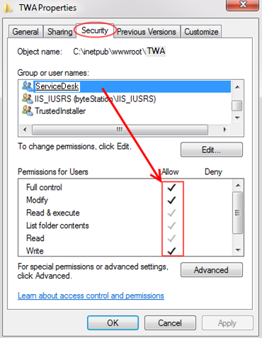 How do I configure Technician Web Access (TWA) site in IIS