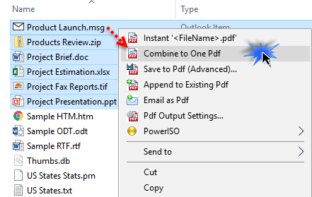 The 'Combine into one pdf' option in the context menu of Windows Explorer