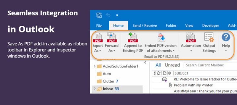 Export As button on the ribbon toolbar to Save Email As Pdf from Outlook