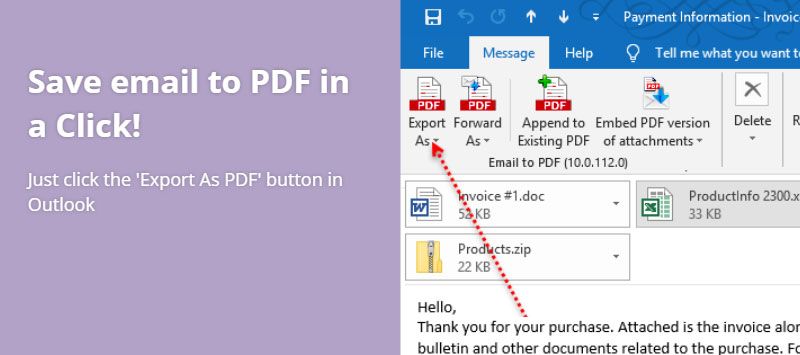 Save Email As Pdf from Outlook in a Click. It can't get easier than this!