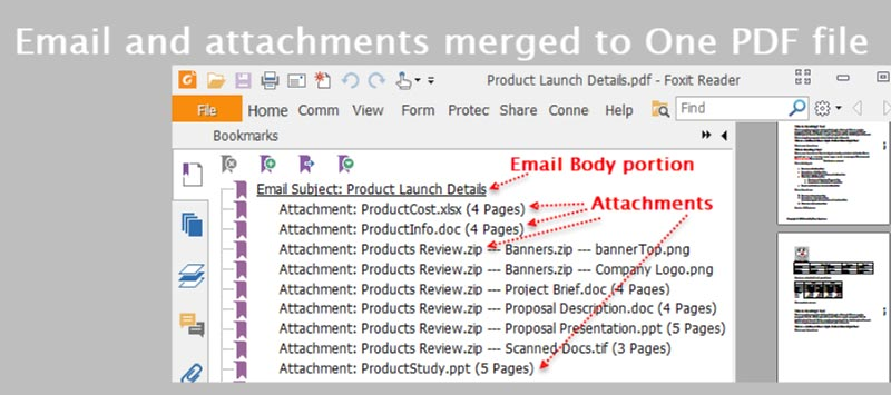 Merge email and attachments from a MSG file to one PDF file