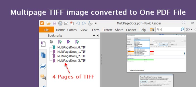 Structure of the One PDF file showing all the pages of the TIFF.