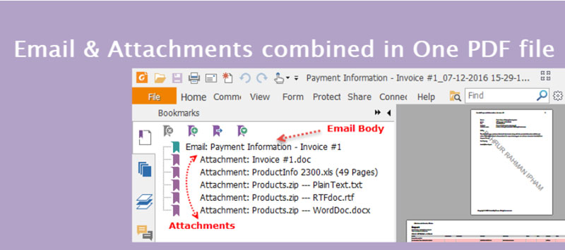 Combine emails and attachments to a long one PDF file