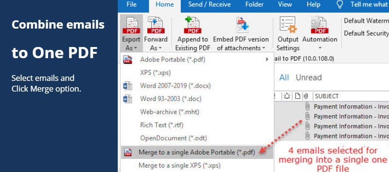 Save Email and Attachments As one long Pdf file from Outlook