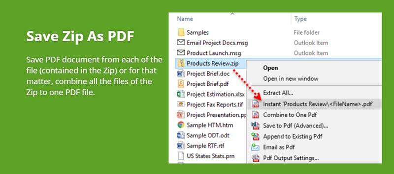 Produce PDFs from the documents contained in a ZIP file