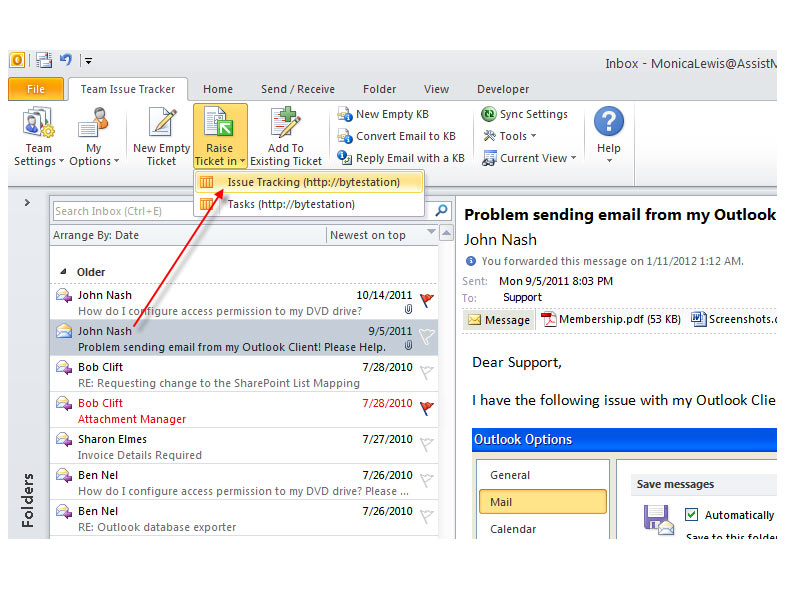 toolbar of SharePoint ticket system in Outlook