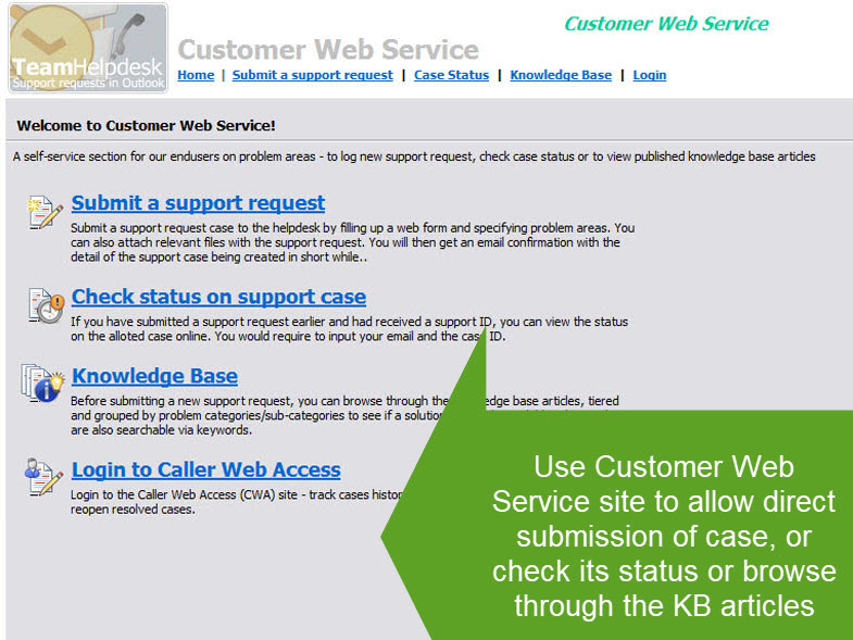 Customer Web Service site integrated with Outlook Helpdesk add-in