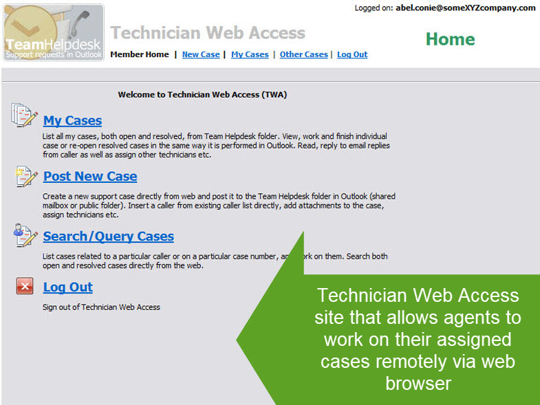 Technician Web Access site