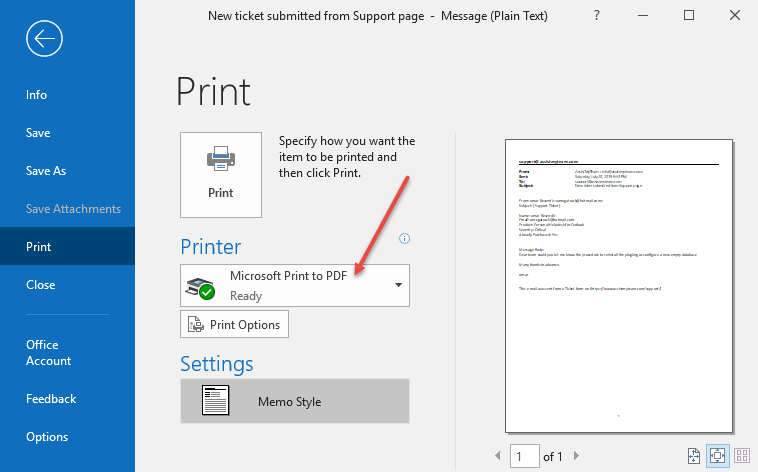 how to save email to pdf using 'Microsoft Print to PDF' driver