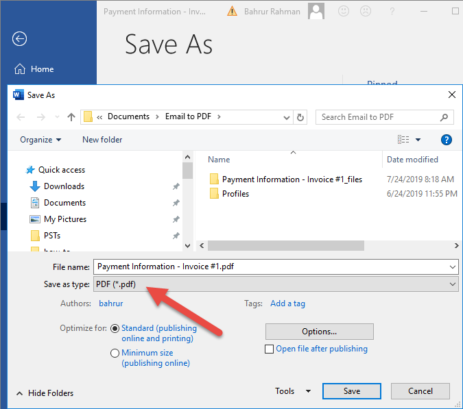 how to save email to pdf using Microsoft Word and Outlook