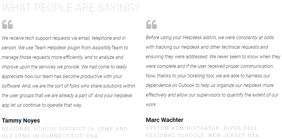 what people are saying about Outlook Helpdesk add-ins